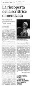 """""""La riscoperta della scrittrice dimenticata. Daria Martelli presenta il romanzo More veneto. Letteratura"""", Il Gazzettino PD, 28 marzo 2019."""